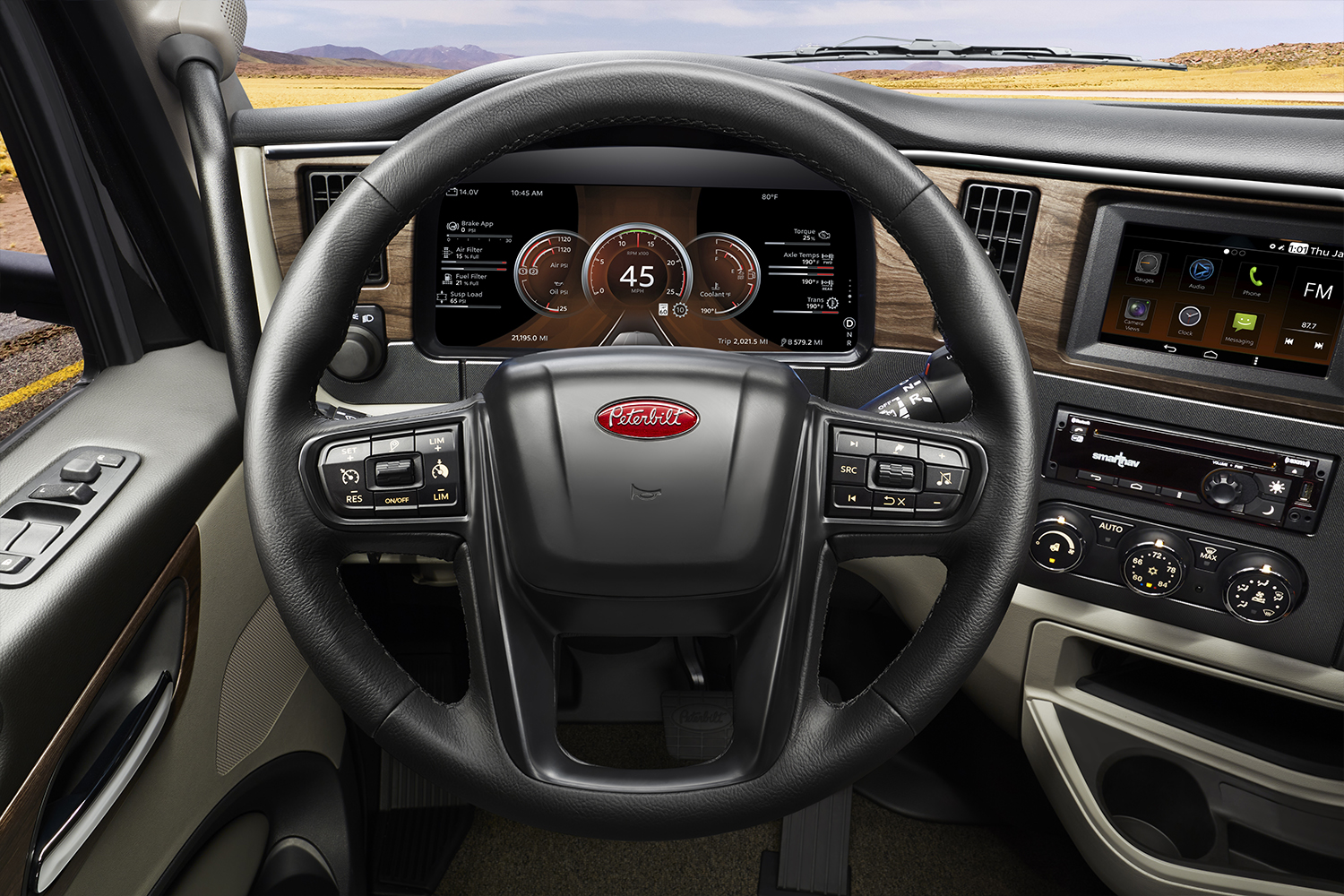 The all-new digital dash in Peterbilt's new Model 579 displays new safety systems available to drivers